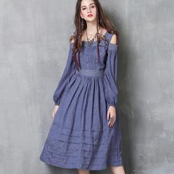 Rochie albastra din bumbac cu bretele si broderie