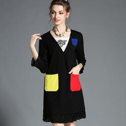 Rochie neagra cu buzunare colorate