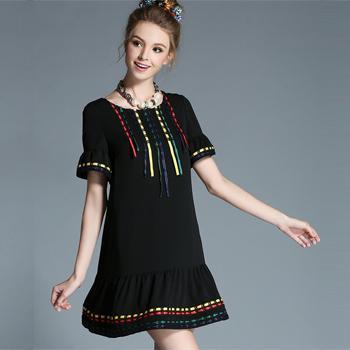 Rochie neagra cu panglici colorate