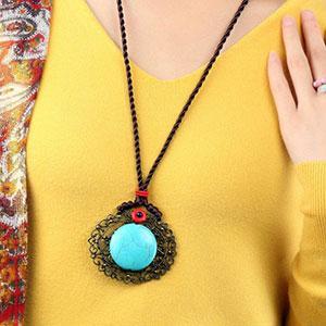 Colier handmade pandativ turcoaz agat