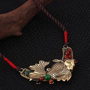 Colier handmade pestisor de aur argint tibetan