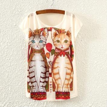 Tricou de dama cu imprimeu pisici