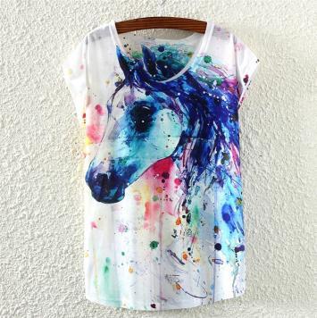 Tricou de dama cu imprimeu culori cal