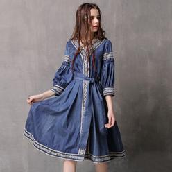 Rochie kimono din denim cu broderie decorativa